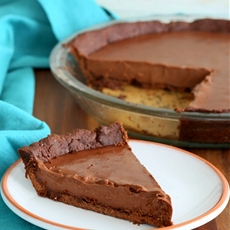 Dark Chocolate Silk Pie with Chocolate Almond Crust
