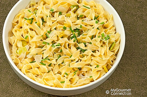 Egg Noodles With Three Onion Cream Sauce