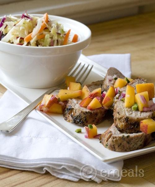 Pork Tenderloin with Peach Salsa and Peppery Slaw