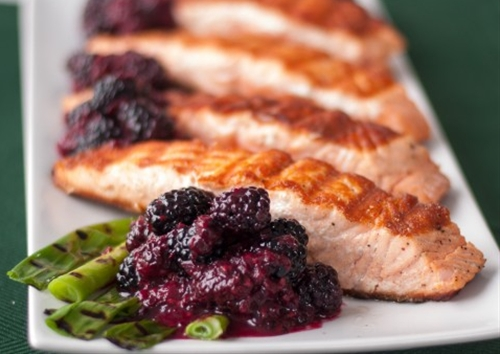 Grilled Salmon and Scallions with Blackberry Compote