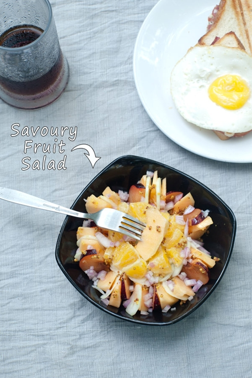Savory Fruit Salad with Cantaloup, Plum, Orange and Vinaigrette