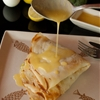 Savory crepes with prawns broccoli hollandaise sauce