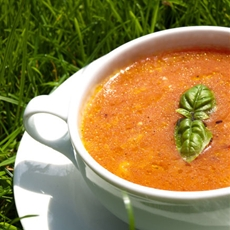 Orange tomato soup with mozzarella