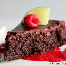 Flourless Chocolate Cake with Raspberry Lime Salsa