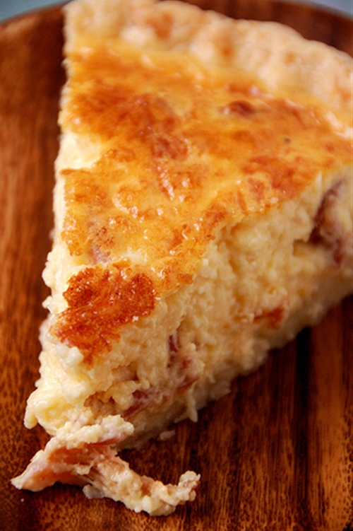 Bacon Quiche with Pat in the Pan Pie Crust