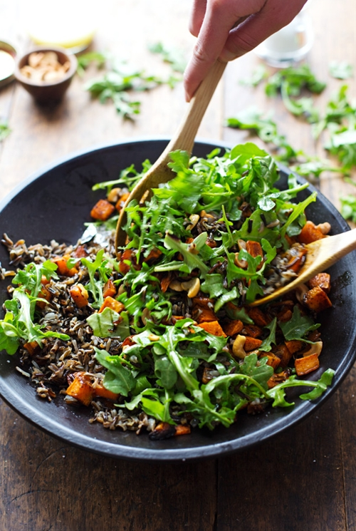 Roasted Sweet Potato, Wild Rice, and Arugula Salad