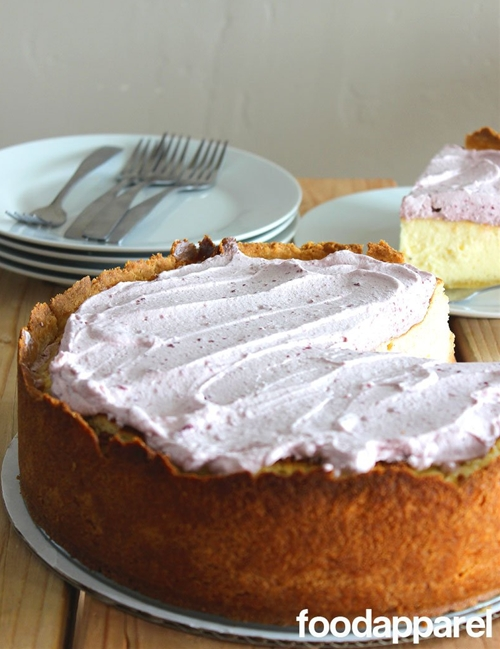 Vanilla Bean Cheesecake with Lemon Cookie Crust and Sour Whipped Cream