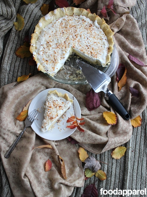 Coconut Cream Pie with Chocolate Painted Crust