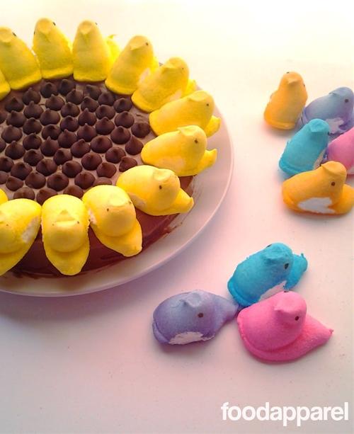 Chocolate Sunflower Peeps Cake