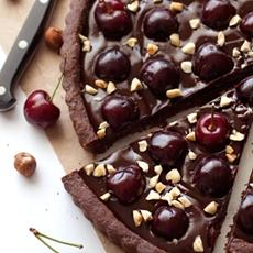 Chocolate Hazelnut Cherry Tart