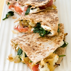 Goat Cheese, Caramelized Onion, and Spinach Quesadilla