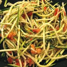 Raw Vegan Creamy Zucchini Pasta Bruschetta