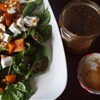 Roast pumpkin, spinach and feta salad