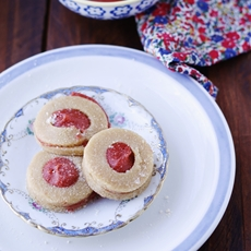 Raw Strawberry Coconut Jam Cookies