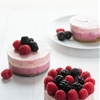 Berry Stripe No-Bake Mini Cheesecakes