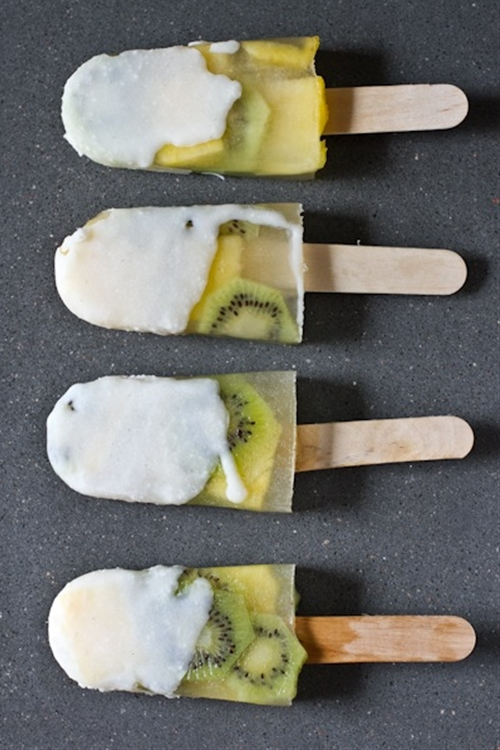 Coconut Shell Fruit Popsicles