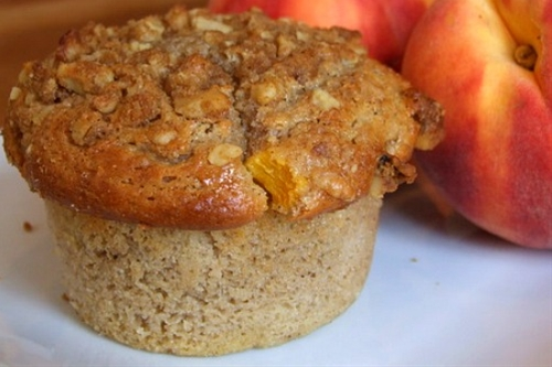 Sweet Peach Muffins with Brown Sugar Walnut Streusel