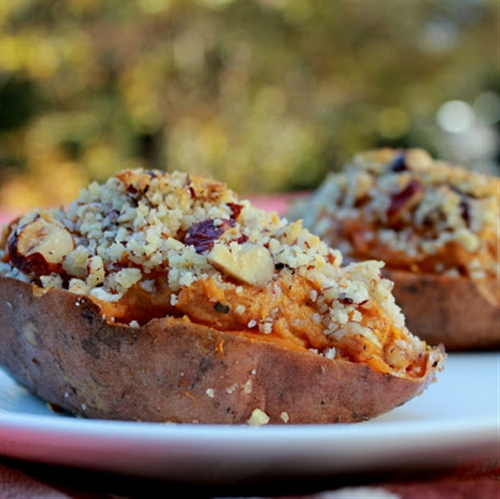 Twice Baked Bourbon Hazelnut Sweet Potatoes