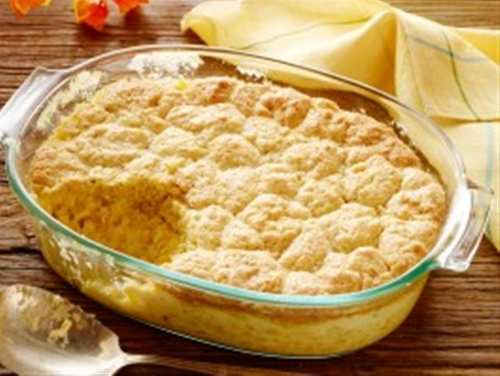 Creamed Corn Casserole with Cornbread Crust