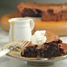 Flourless Chocolate Espresso Cake and a Very Salty Caramel Sauce