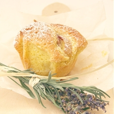 Peach and lavender mini cakes