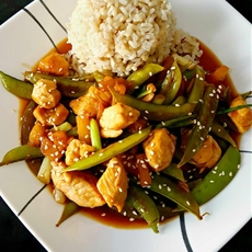 Hawaiian Sticky Chicken with Rice and Peas