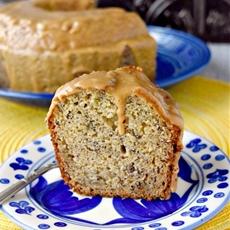 Banana Snack Cake with Peanut Butter Glaze