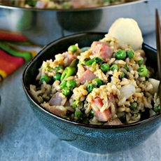 Ham and Pea Fried Rice with KitchenIQ Grate Ginger Tool