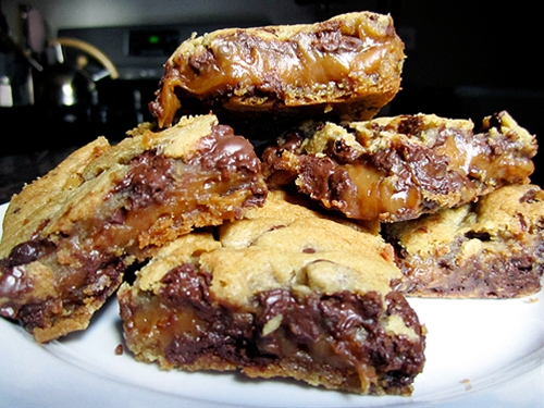 Chocolate Chip Cookie and Caramel-Peanut Butter Bars recipe ...