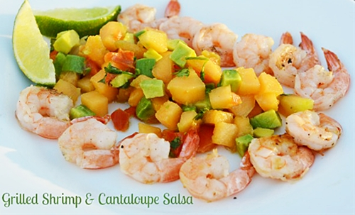 Grilled Shimp & Cantaloupe Salsa