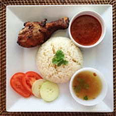 Malay Fried Chicken Rice (Nasi Ayam Goreng Kampung)