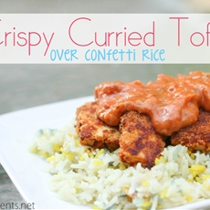 crispy curried tofu over confetti rice