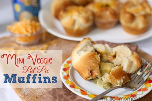 mini veggie pot pie muffins - a million moments