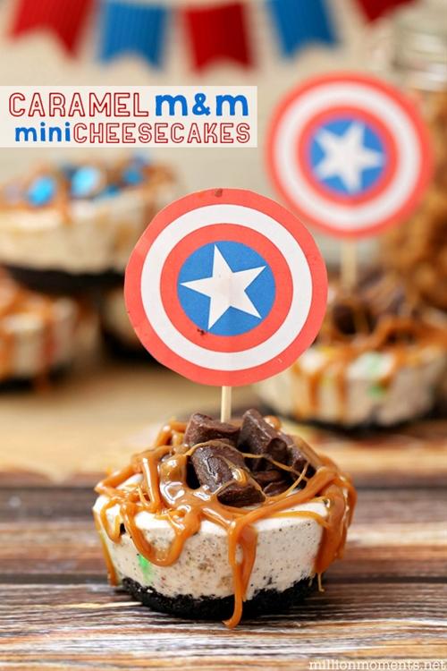 Caramel M&M Cheesecake Bites