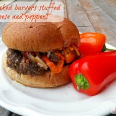 Oven baked hamburgers stuffed with peppers and cheese (