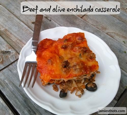 Beef and olive enchilada casserole