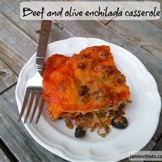 Beef and olive enchilada casserole