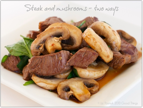 Steak and Mushrooms Two Ways - Cooked in a Wok