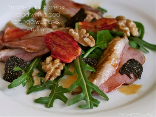 Smoked duck breast salad with blood orange, walnut