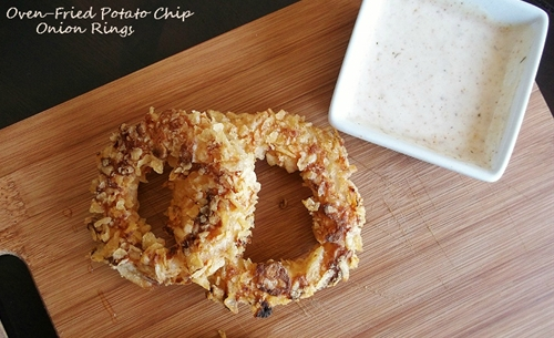 Oven-Fried Potato Chip Onion Rings