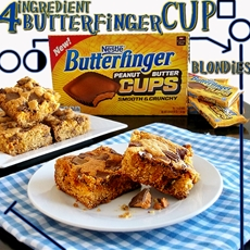 4 Ingredient Butterfinger Cup Blondies