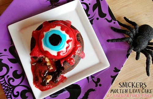 Snickers Molten Lava Cake With Hawaiian Punch Puree