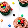 M&Ms Crispy Chocolate Cupcakes with Chocolate Frosting