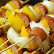 Sausage & Yellow Pepper Skewers