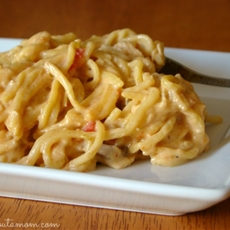 CrockPot Cheesy Chicken Spaghetti