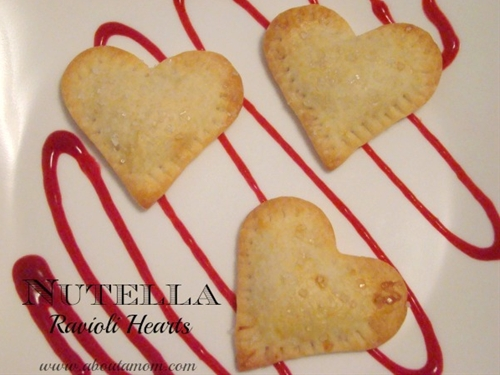Nutella Ravioli Hearts with Raspberry Sauce