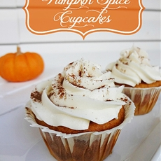 Pumpkin Spice Cupcakes topped with Cream Cheese Icing