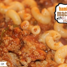Hamburger Macaroni with Bell Peppers and Red Onions