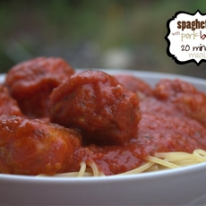 Spaghetti with Pork Balls – 20 minute meal from Saltwater Happy
