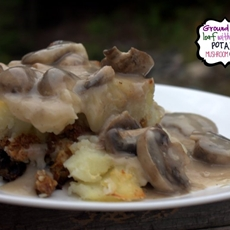 Ground Pork Loaf with Mashed Potato and Mushroom Gravy